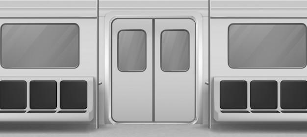 Interior de vagão de metrô dentro vista com porta, assentos Vetor grátis