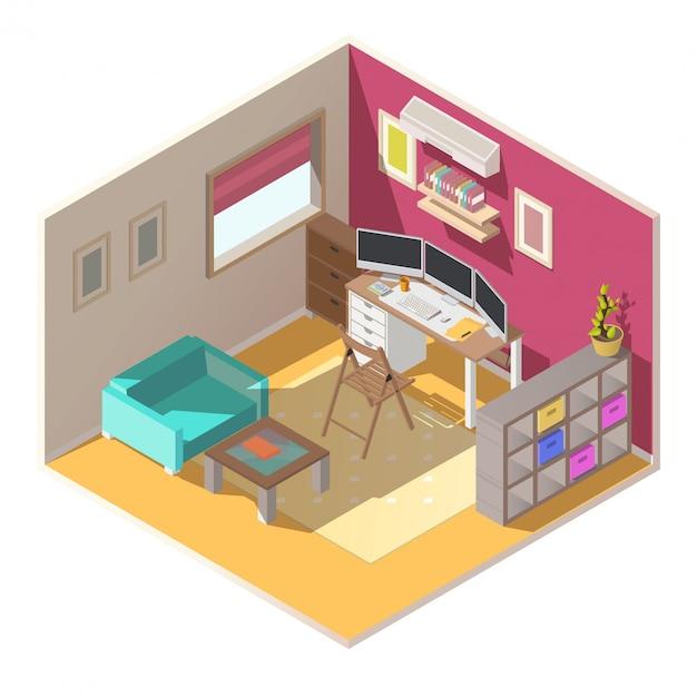 Interior de vetor isométrica de pequeno escritório em casa Vetor grátis