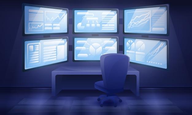 Interior do armário dos desenhos animados com muitos monitores, ilustração vetorial Vetor Premium