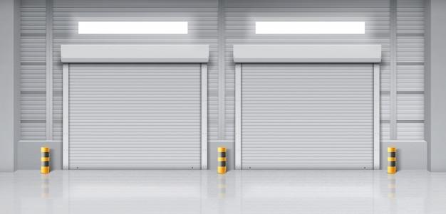 Interior do armazém com portões fechados Vetor grátis