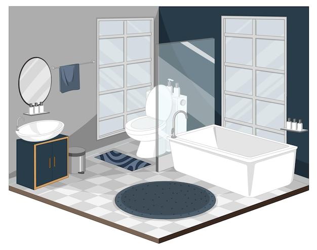 Interior do banheiro com móveis de estilo moderno Vetor grátis