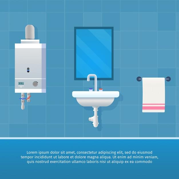 Interior do banheiro do conceito da ilustração do vetor. Vetor Premium