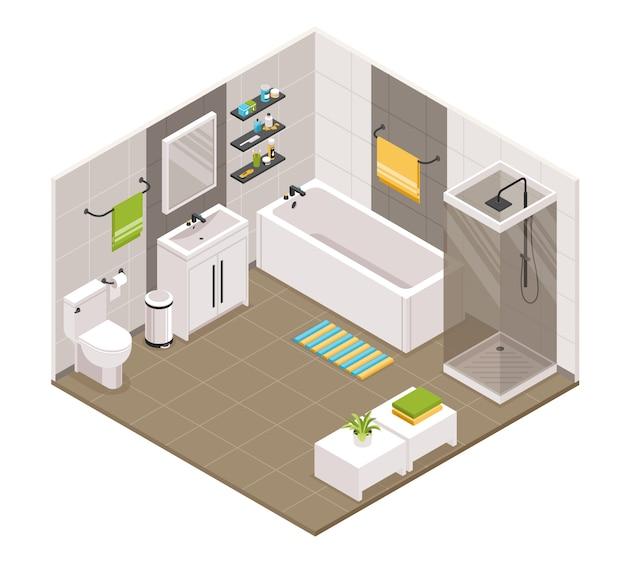 Interior do banheiro isométrico Vetor grátis