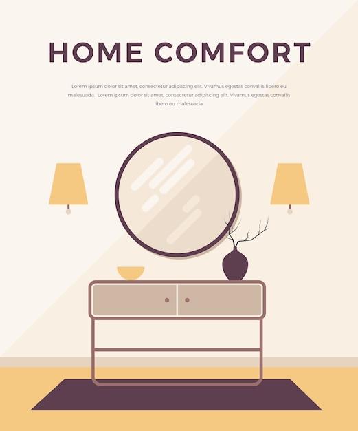Interior do conceito lounge com móveis clássicos e modernos: arandelas, mesa de cabeceira, espelho redondo, vaso. , estilo minimalista. design de interiores para casa. Vetor Premium