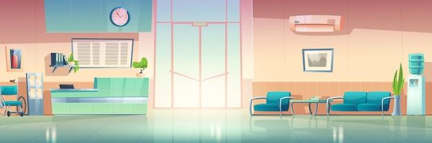 Interior do corredor do hospital, salão da clínica médica. ilustração em vetor dos desenhos animados do corredor de espera no hospital com cadeiras, balcão, porta, bebedouro e condicionador na parede Vetor grátis