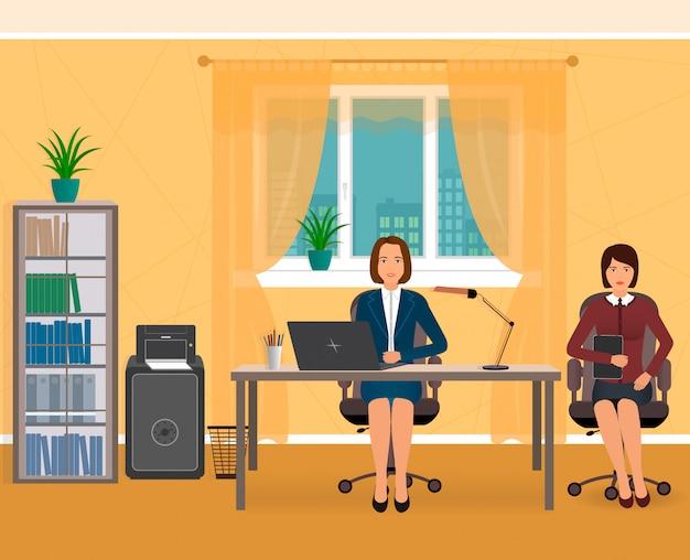 Interior do escritório com dois funcionários de negócios em um local de trabalho. ilustração plana. Vetor Premium