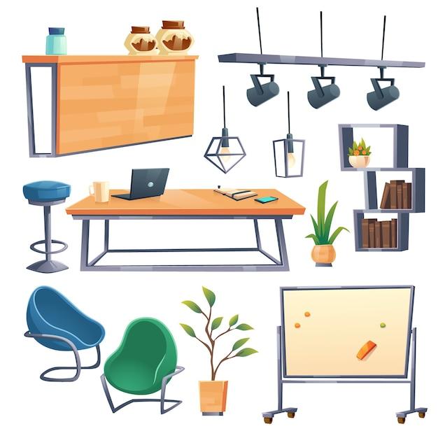 Interior do escritório de coworking com laptop, mesa, cadeiras e balcão de bar. móveis de desenho animado para local de trabalho em espaço aberto, banquinho, prateleiras, quadro magnético, lâmpadas e plantas isoladas em branco Vetor grátis