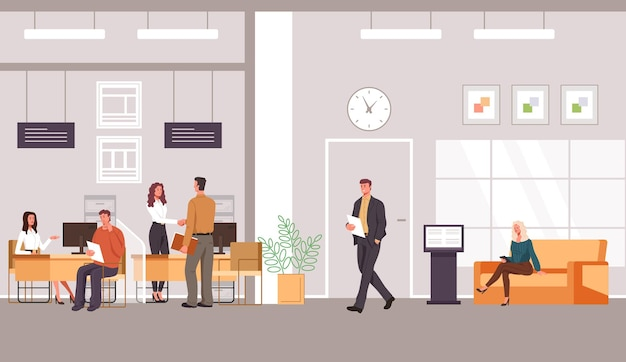 Interior do escritório do banco e cliente com ilustração de design plano de trabalhadores especializados em bancos Vetor Premium