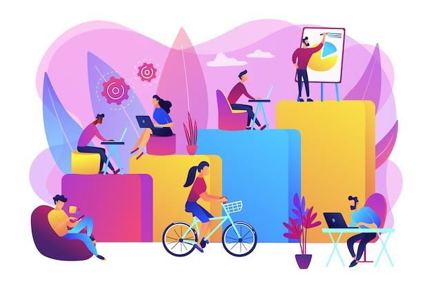 Interior do escritório. pessoas que trabalham em um espaço de trabalho criativo em espaço aberto. local de trabalho moderno, felicidade do funcionário, como aumentar o conceito de produtividade. Vetor grátis