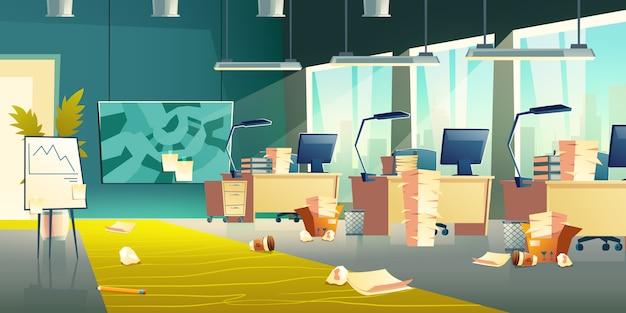 Interior do escritório sujo, local de trabalho vazio, banner de lixo Vetor grátis
