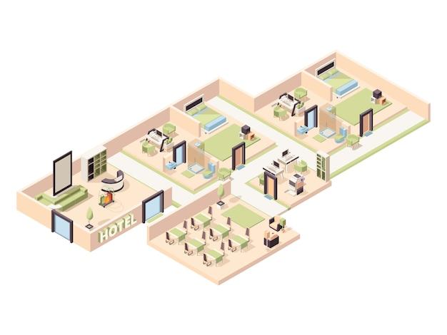 Interior do hotel. quartos de hotel de luxo modernos, zona lounge piscina restaurante confortável banheiro estacionamento isométrico Vetor Premium