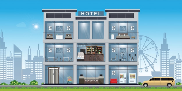 Interior do hotel situado no interior do edifício. Vetor Premium