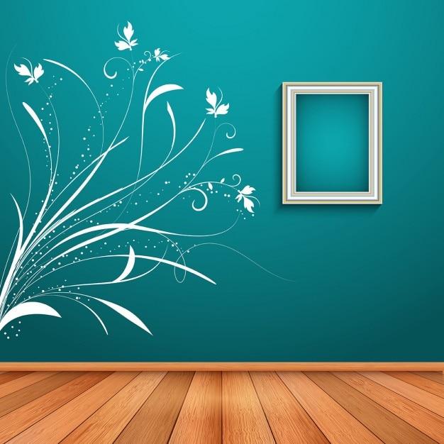 Interior do quarto com decoração decalque de parede floral Vetor grátis