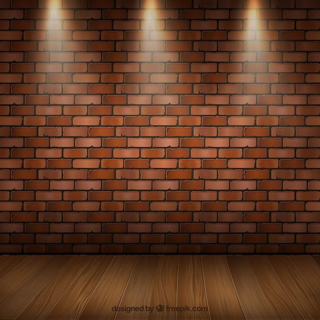 Interior do quarto com parquet e uma parede de tijolos Vetor Premium