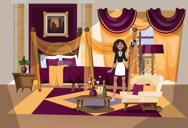 Interior do quarto de hotel. empregada em uniforme de limpeza Vetor Premium
