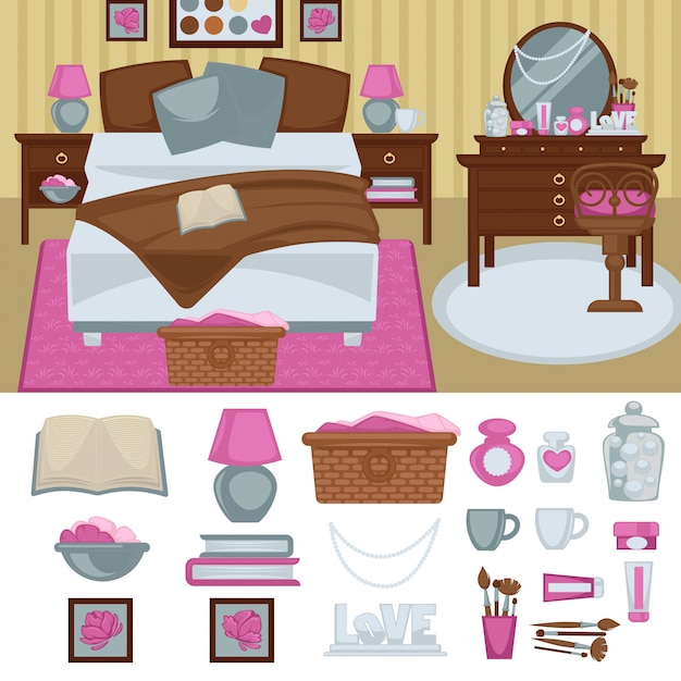 Interior do quarto de mulher com mobília. Vetor Premium