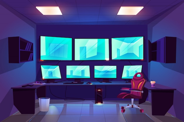 Interior do quarto do cctv do controle de segurança com os monitores múltiplos que indicam o vídeo das câmeras de vigilância Vetor grátis