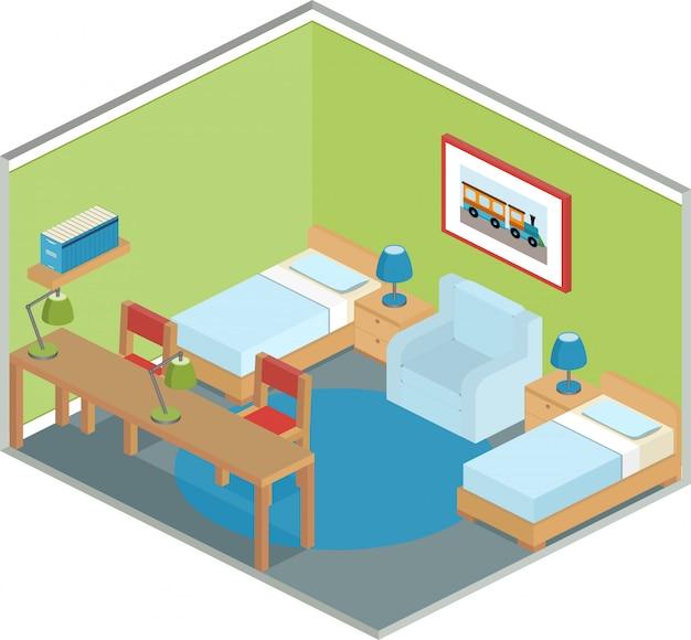 Interior do quarto em estilo isométrico, Vetor Premium