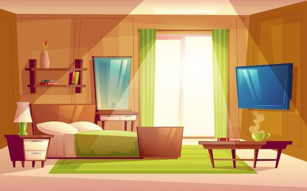 Interior do quarto moderno acolhedor, sala de estar com cama de casal, aparelho de tv, cômoda Vetor grátis