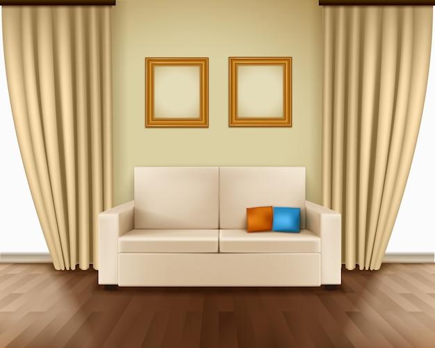 Interior do quarto realista com luxo janela cortina sofá descansa quadros Vetor grátis