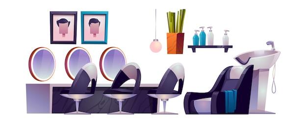 Interior do salão de cabeleireiro com cadeiras de cabeleireiro, espelhos, pia e cosméticos Vetor grátis