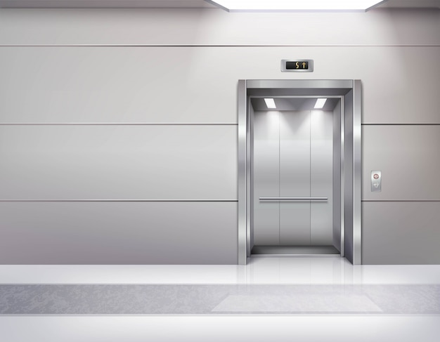 Interior do salão de elevador vazio realista Vetor grátis