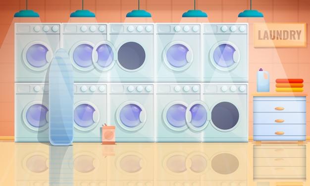 Interior dos desenhos animados da lavanderia com máquinas de lavar, ilustração vetorial Vetor Premium