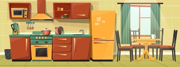 Interior dos desenhos animados do contador de cozinha da família com aparelhos, móveis. Vetor grátis