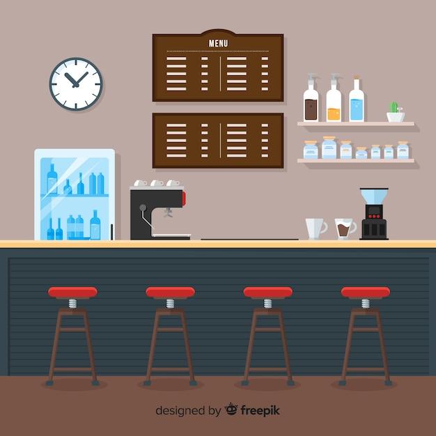 Interior elegante café com design plano Vetor grátis