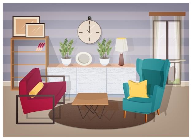 Interior elegante de sala de estar cheia de móveis modernos e decorações para casa - poltronas confortáveis, mesa de centro, estantes com livros, plantas de interior, abajur, quadros de parede. ilustração colorida do vetor. Vetor Premium