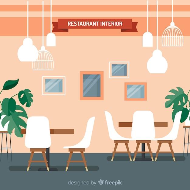 Interior elegante restaurante com design plano Vetor grátis