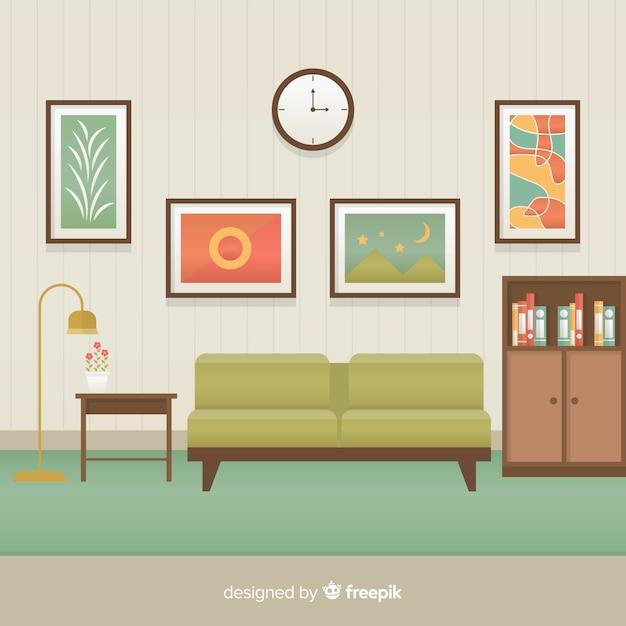 Interior elegante sala de estar com design plano Vetor grátis