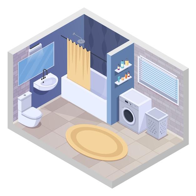 Interior isométrica de casa de banho com instalações sanitárias realistas e móveis com secador de toalhas de máquina de lavar roupa e ilustração vetorial de tapete Vetor grátis