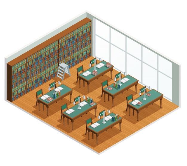 Interior isométrica para livraria e biblioteca, sala de leitura com estantes e mesas com livro aberto Vetor grátis