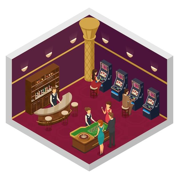 Interior isométrico de cassino colorido com grande sala com slots e mesa de jogo Vetor grátis