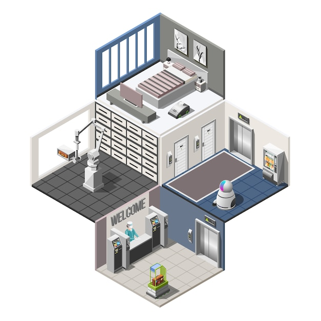 Interior isométrico de hotéis robotizados Vetor grátis
