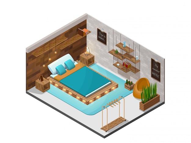 Interior isométrico de quarto Vetor Premium