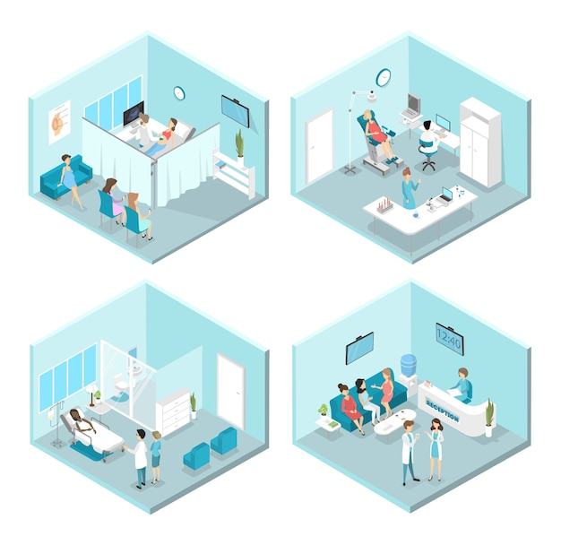 Interior isométrico de salas de ginecologia: recepção, laboratório, salas de espera e de exames. médicos e enfermeiras tratando de pacientes do sexo feminino no hospital. ilustração Vetor Premium