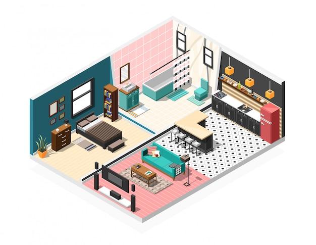 Interior isométrico do apartamento Vetor grátis