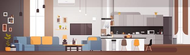 Interior moderno apartamento com sala e cozinha banner horizontal Vetor Premium
