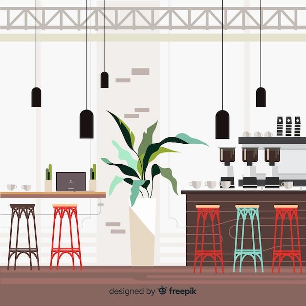 Interior moderno café com design plano Vetor grátis