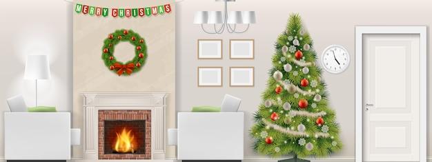 Interior moderno da sala de estar com árvore de natal, móveis e lareira. ilustração vetorial Vetor Premium
