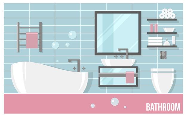 Interior moderno de casa de banho com azulejos azuis em estilo simples. Vetor Premium