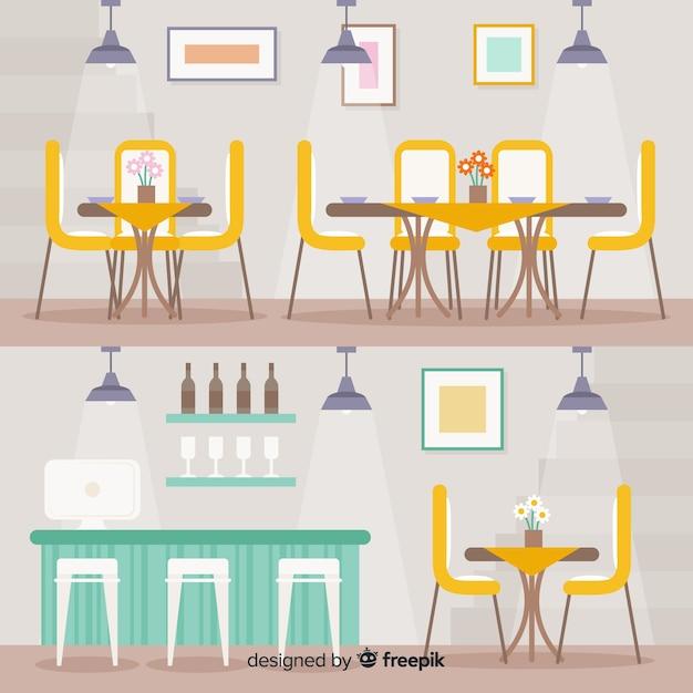 Interior moderno restaurante com design plano Vetor grátis