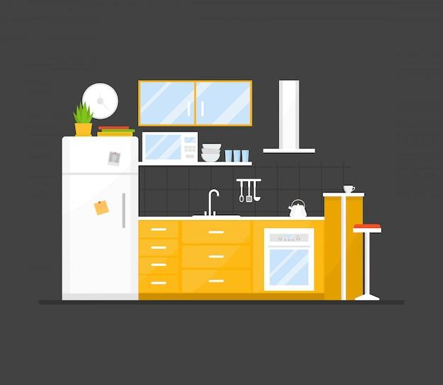 Interior pequena cozinha aconchegante com móveis e fogão, pratos, geladeira e utensílios. Vetor Premium