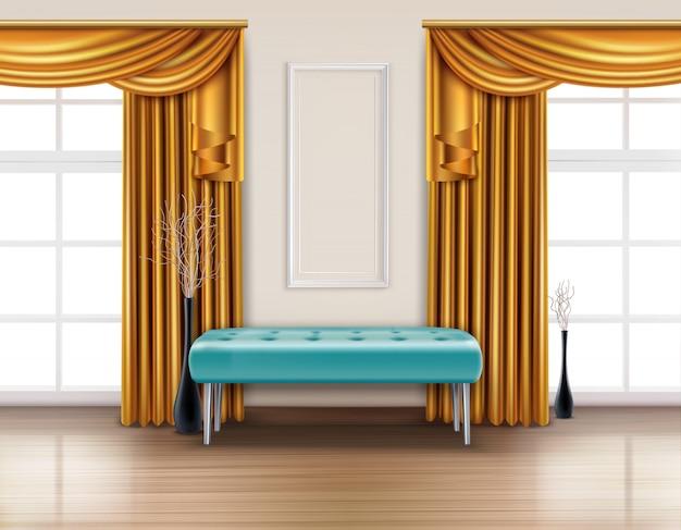 Interior realista de cortinas de luxo colorido com cortina dourada e ilustração azul banco macio Vetor grátis