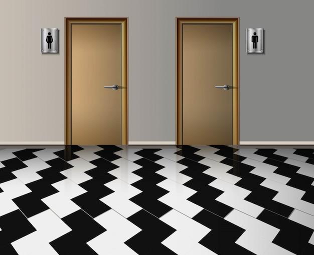 Interior realista do banheiro público da entrada de homem e mulher com portas de madeira e com piso lavrado corredor Vetor Premium
