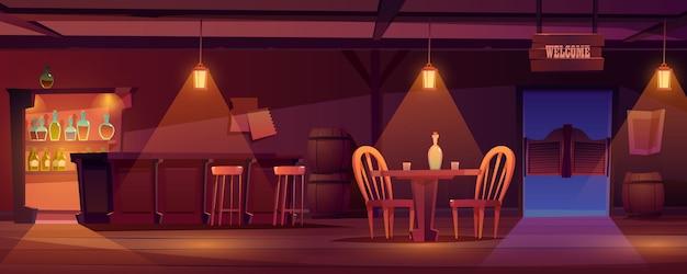 Interior retro ocidental vazio do bar do vaqueiro bar Vetor grátis