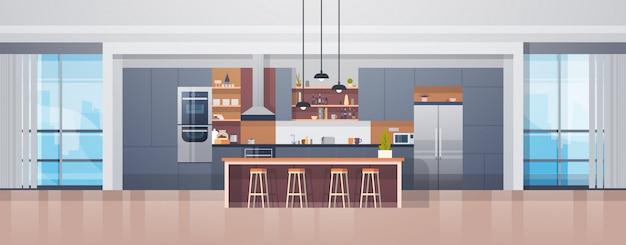 Interior vazio da cozinha com contador e dispositivos modernos da mobília Vetor Premium