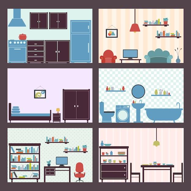 Interiores, apartamento, jogo Vetor grátis